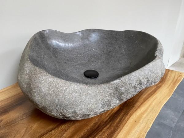 Naturstein Waschbecken Aufsatzwaschbecken Flussstein 66x57 cm