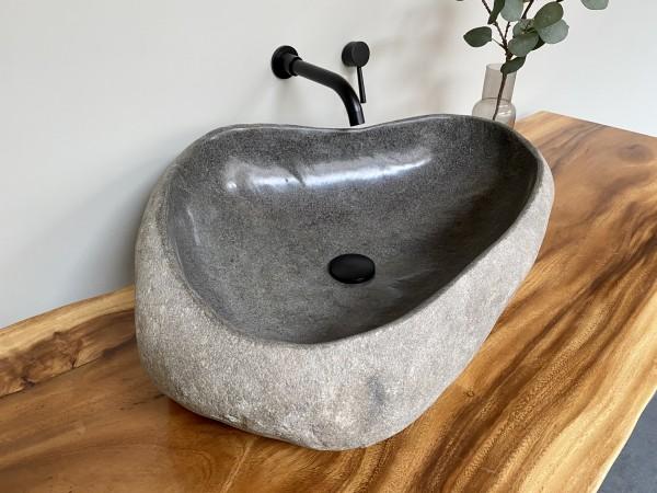 Naturstein Waschbecken Aufsatzwaschbecken Flussstein 69x51 cm