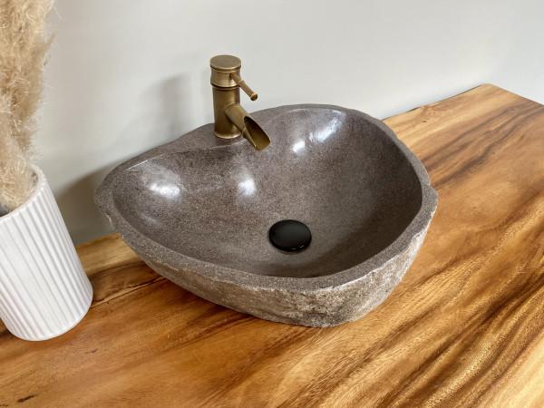 Naturstein Waschbecken Aufsatzwaschbecken Flussstein 50x37 cm