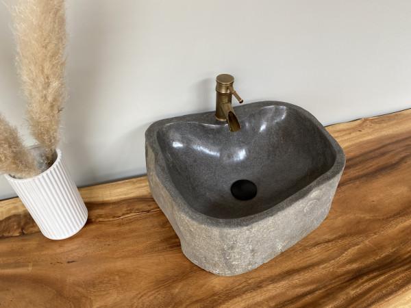 Naturstein Waschbecken Aufsatzwaschbecken Flussstein 45x37 cm