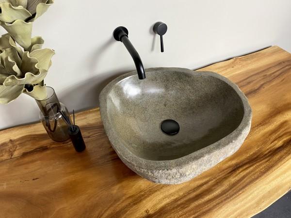 Naturstein Waschbecken Aufsatzwaschbecken Flussstein 48x43 cm