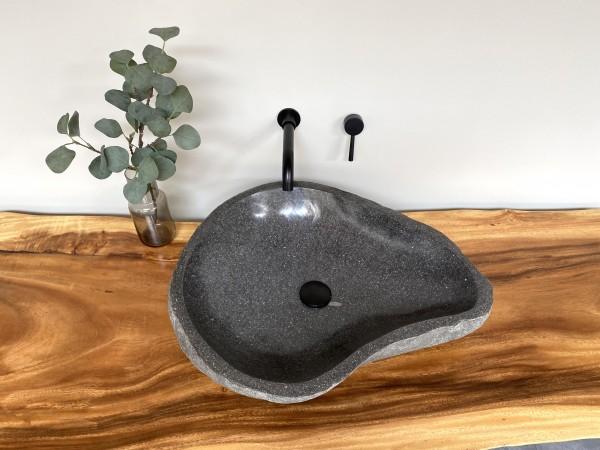Naturstein Waschbecken Aufsatzwaschbecken Flussstein 61x26 cm