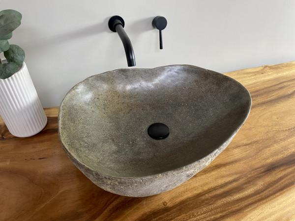 Naturstein Waschbecken Aufsatzwaschbecken Flussstein 55x42 cm